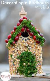 decorating birdhouses with edible bird seed glue craft simple