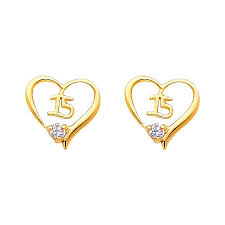 sweet earrings 14k yellow sweet 15 cz stud earrings back oropalace