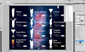 photoshop menu template tips on how to easily include cocktail drink graphics in the menu