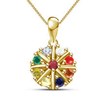 multi color stone necklace images Buy navratna stone pendant with chain yellow gold plated 925 jpg