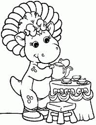 coloring pages cartoon barney friends baby bop free