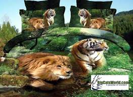 Tiger Comforter Set Lion And Tiger Combo Print Photographic Image Comforter Set