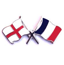 Flag And Cross England Flag And French Flag Crossed Lapel Badge