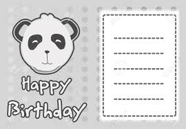 birthday card with illustration cute panda royalty free cliparts