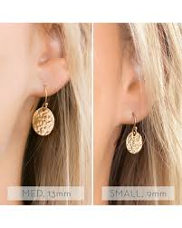 gold disc earrings shopping deals on circle dangle earring hammered disk 14k