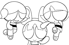 powerpuff girls flying coloring pages for kids printable free