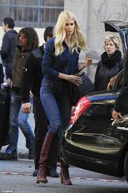 car commercial girl short blond hair supermodel claudia schiffer rocks blue on blue while filming