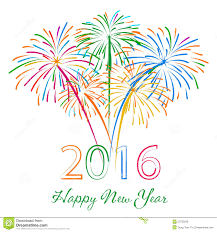 happy new year 2016 with fireworks background stock vector