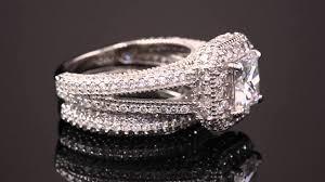 princess cut cubic zirconia wedding sets 5 08 tcw princess cut cubic zirconia two halo bridal set in