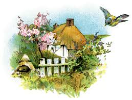 small country cottage clip art thatched roof cottage illustration