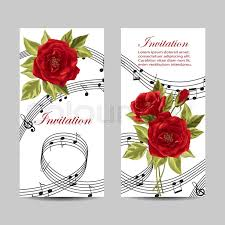 Marriage Invitation Card Design Vector Illustration With Music Notes And Red Rose Flowers On