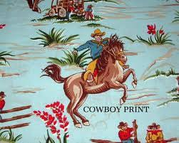 Western Fabric For Curtains 40 X 12 Valance 100 Cotton Cowboy Print Fabric By Avintagelook