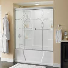 mosaic glass door frosted patterned shower doors showers the home depot