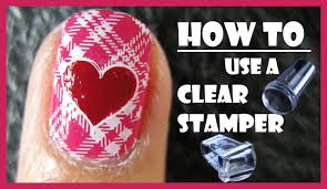 how to use a clear stamper for stamping nail art designs pink