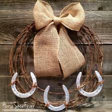 horseshoe wreath barbwire horseshoe wreath horses equine cattle brand rustic