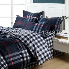 Plaid Bed Set Wholesale Mens Plaid Stripe Reactive Print Bedding Set Navy 100