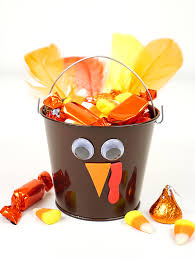 thanksgiving craft turkey treat buckets happiness is