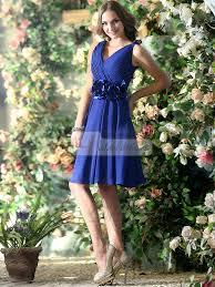 a line chiffon v neck knee length royal blue sash with flower