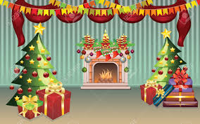 Christmas Living Room by Cartoon Living Room Interior Decorated For Christmas Royalty Free