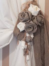 rustic curtain tie back organic linen flower curtain tieback