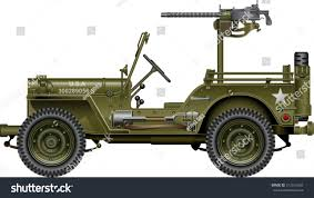military jeep military vehicle mounted machine gun stock vector 312515642