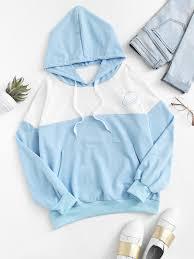 planet print color block kangaroo pocket hoodiefor women romwe