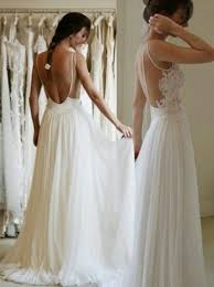 chiffon wedding dresses buy a line lace applique backless chiffon wedding dress
