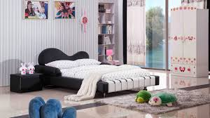 Black Twin Bedroom Furniture Piano Leather Upholstered Black And White Kid U0027s Twin Bed Zuri
