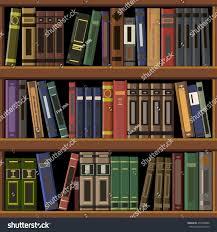 Bookshelves Wooden Vector Illustration Seamless Wooden Bookshelves Stock Vector