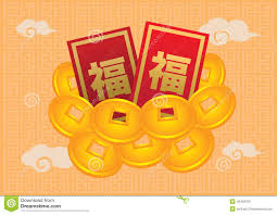 new year gold coins new year packets and gold coin stock vector image