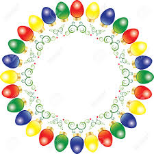 a wreath of bright and colorful vector christmas lights royalty