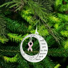 you to the moon back pink ribbon ornament the breast