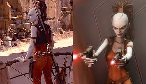 5 female star wars characters carry