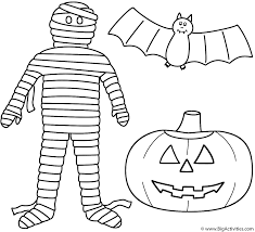 mummy with pumpkin jack o lantern and bat coloring page halloween