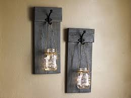 Rustic Wall Sconces Distressed Wooden Sconce Set Lighted Wall Sconces Jar