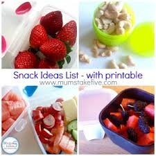 snack ideas to go with printable