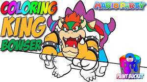 coloring king bowser on throne coloring pages for kids super