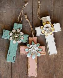 diy wooden crosses gift with handmade flowers crafts