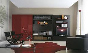 simple living room layouts with red cbainet black bookshelf two