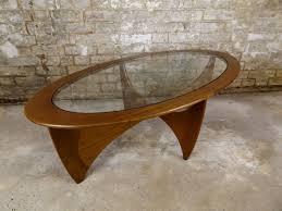 vintage teak wood coffee table oval scandinavian furniture outdoor