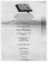Funeral Programs Order Of Service Funeral Program For Deacon Elo Shepherd June 15 1995 The