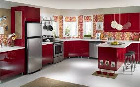 Wallpaper In Kitchen Ideas Kitchen Spectacular Kitchen Wallpaper In Country Style With Red