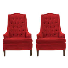 Cream Leather Club Chair Excellent Pair Of Tufted Red Velvet Classic Regency Arm Or Club