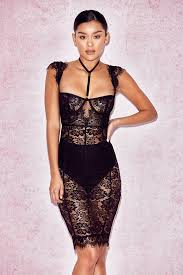 black lace dress bodycon dresses hermosa black lace collar dress with briefs