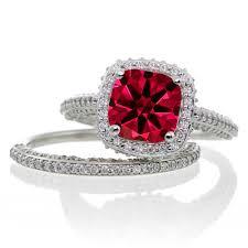 ruby wedding rings 2 5 carat cushion cut designer ruby and halo wedding ring