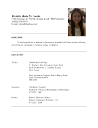 Sample Resume Computer Science by Sample Resume For Computer Science Ojt Resume Ixiplay Free