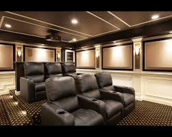 stupendous room with black sofa on motive carpet under lighting on