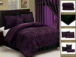Duvet Curtain Sets New Royal Purple Black Bedding Flock Satin Comforter Set Full