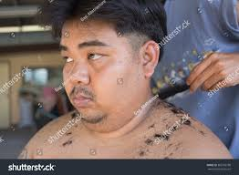 fat man getting haircut by hairdresser stock photo 382765798