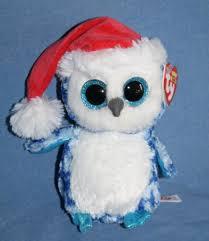 ty beanie boos buddy icicles christmas owl blue plush stuffed